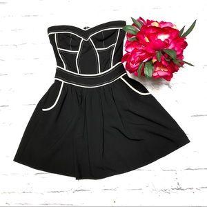 SugarLips Black White Piping Pocketed Mini Dress